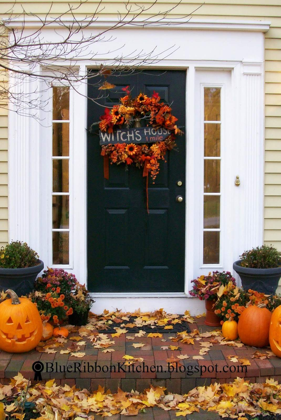 Blue Ribbon Kitchen Four Autumn Wreaths Only One Front Door