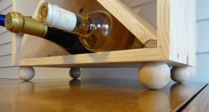 Bottle Wine Rack Ball Feet Solid Wood Allabouthome