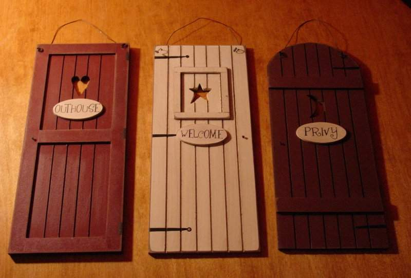 Country Outhouse Welcome Privy Rustic Bathroom Door Signs Set Home