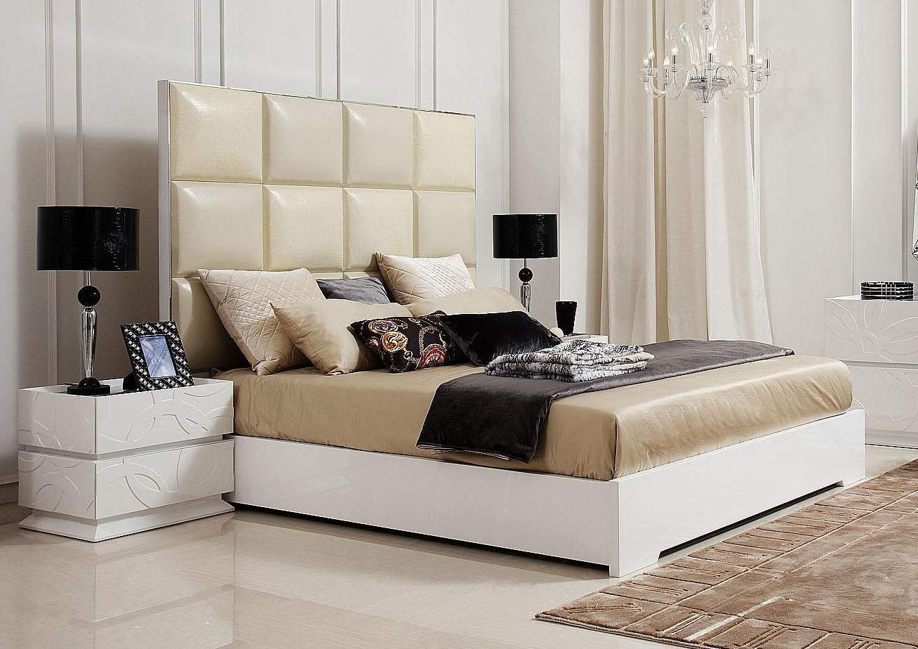 Crocodile Style Patterned Italian Top Leather Bed White Gloss