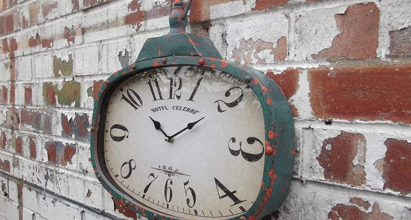 Distressed Industrial Wall Clock Woods Vintage Home Interiors