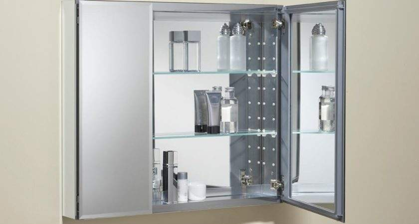 Double Door Mirrored Frameless Cabinet Adds Stylish Storage