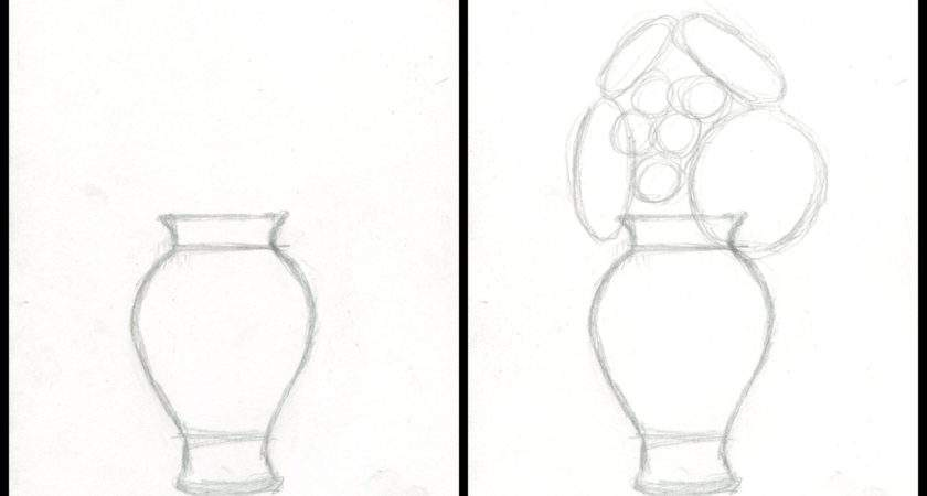 Flower Vase Drawing Step Draw Realistic Flowers