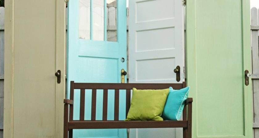 Four Old Doors Hinges Created Privacy Screen Not Just