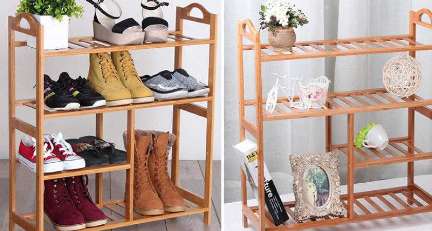 Funky Buys Four Tier Bamboo Shoe Rack Save