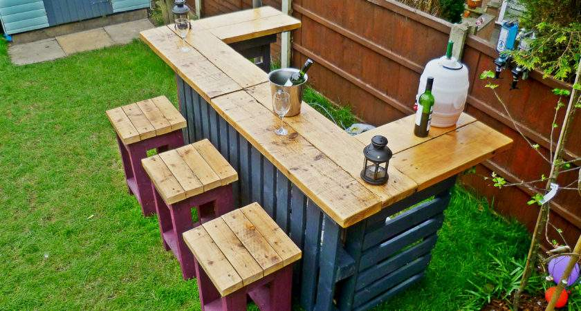 Garden Bar Made Reclaimed Timber Discarded Pallets