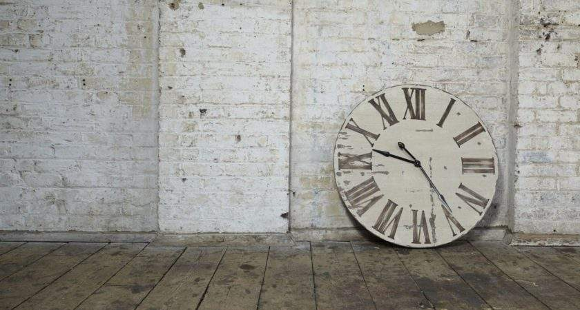 Gigantic Distressed Wooden Wall Clock