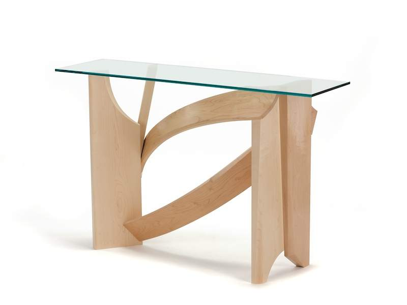 Glass Hall Table Modern Console Made Maple Wood