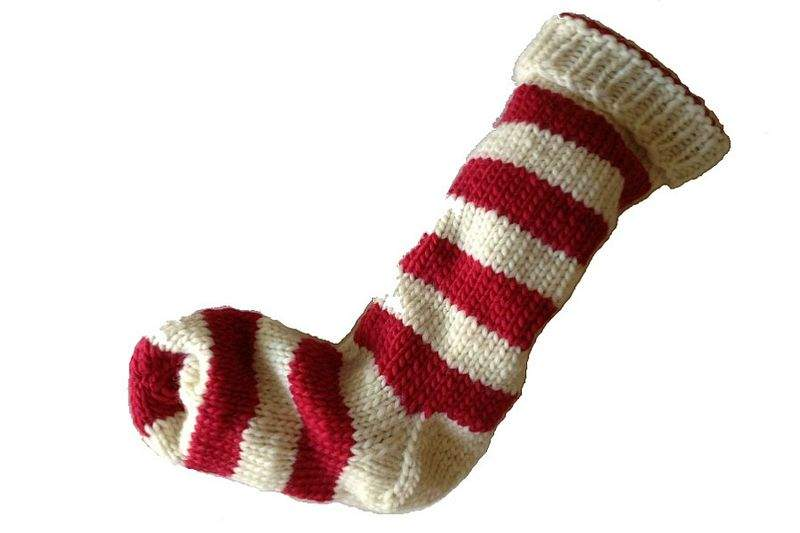 Hand Knit Christmas Stocking Natural White Red Striped