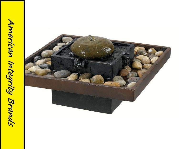 Indoor Tabletop Water Fountain Two Toned Bronze Finish Cascading Quiet