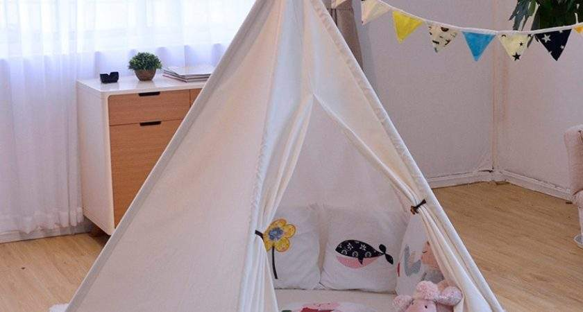 Ins Solid White Canvas Portable Indian Play Tent Children
