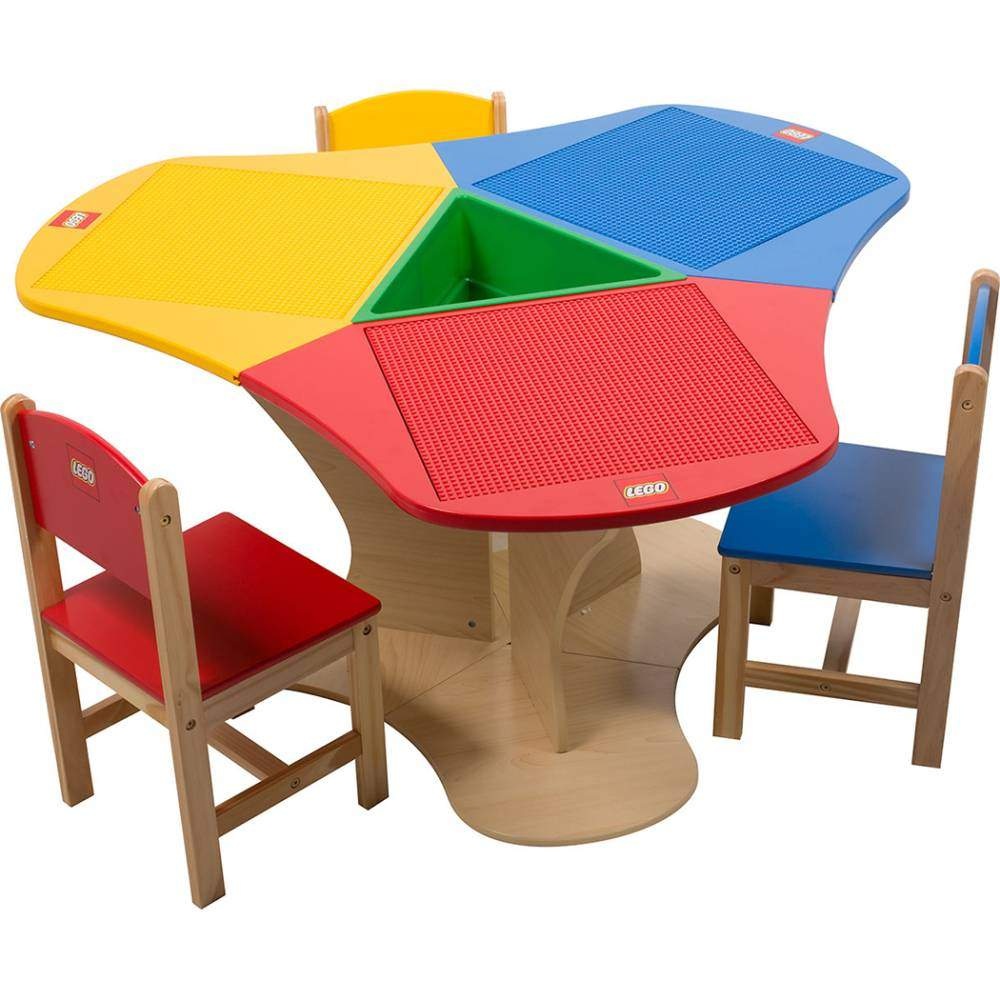 Lego Table Triangle Storage Three Chairs