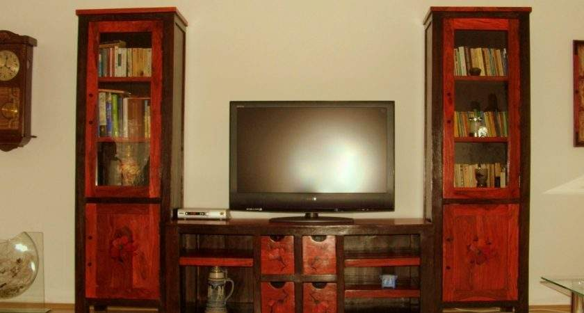 Living Room Furniture Red Hand Painted