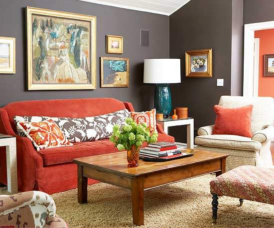 More Traditional Living Room Cor Red Accents