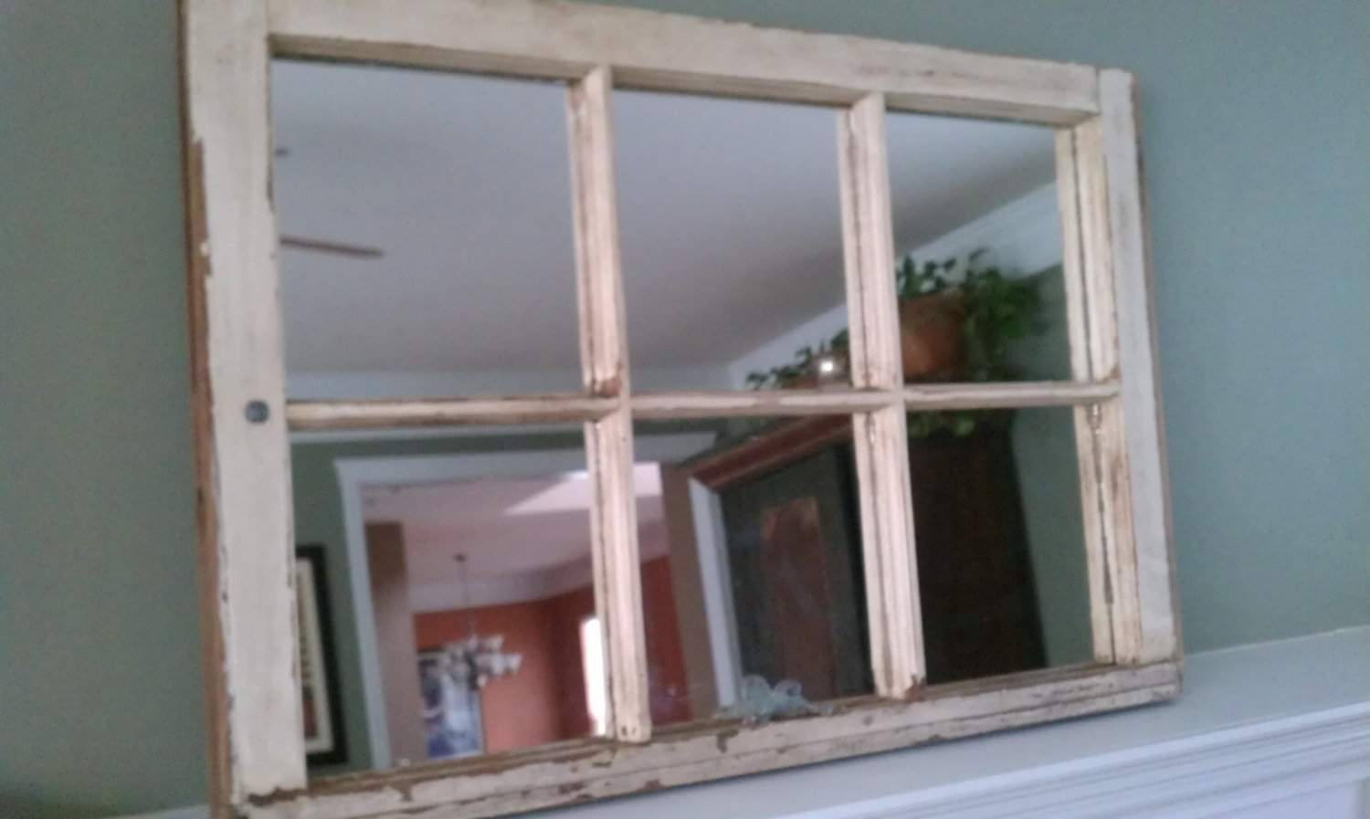 Old Wood Window Pane Mirror Thedecorativecompany Etsy