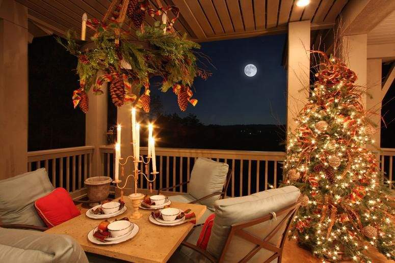 Outdoor Porch Decorated Christmas Garland Mantle Candles