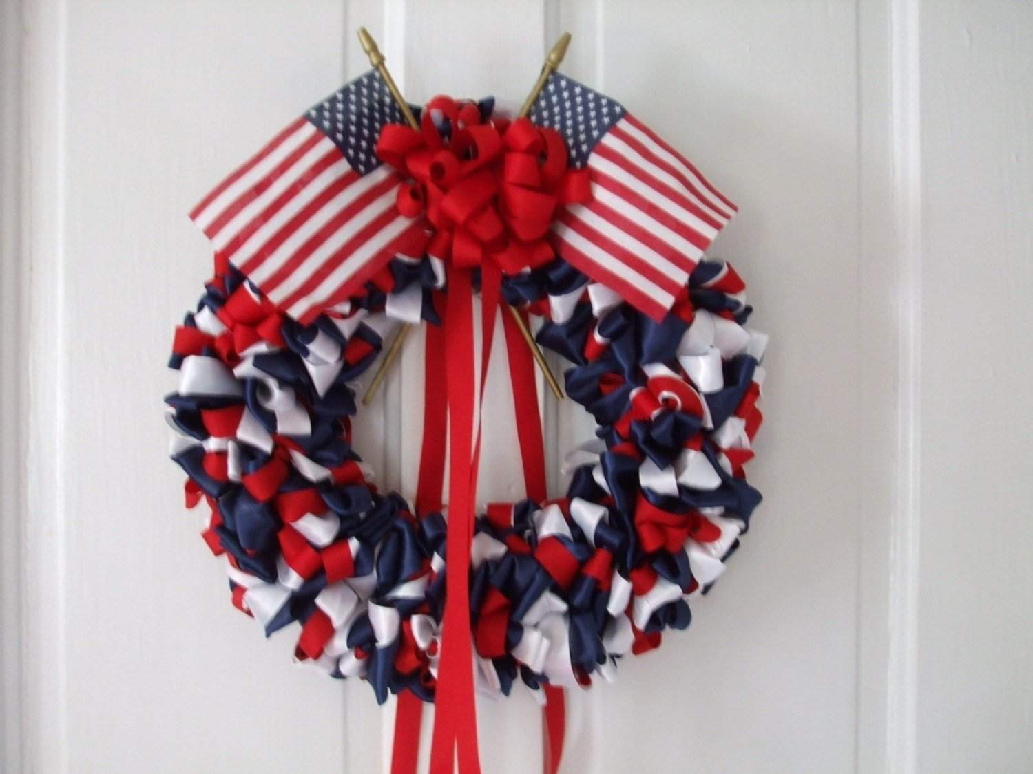 Patriotic Inch Ribbon Wreath Red White Blue