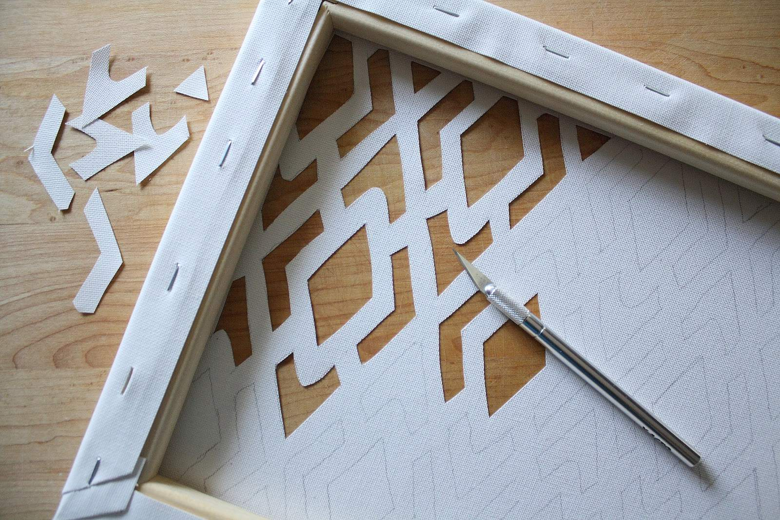 Pattern Traced Onto Back Canvas Pencil Check