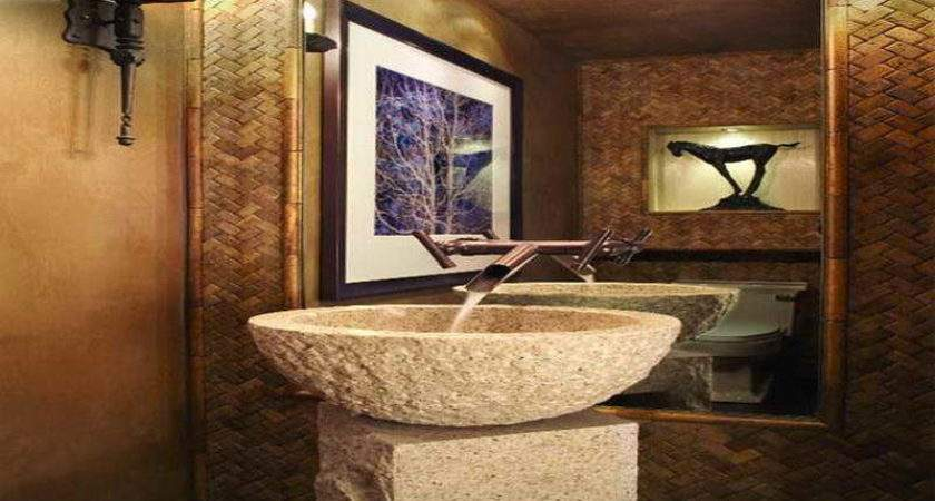 Powder Room Designs Small Spaces Stone Material