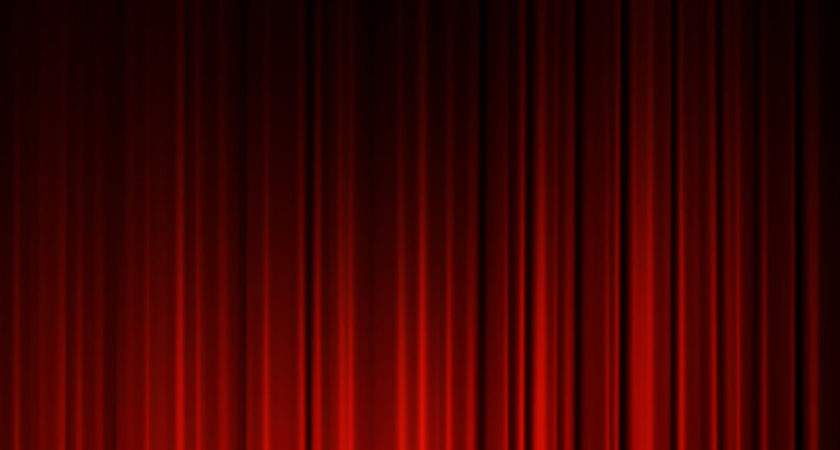 Red Theater Curtain Isolated Black