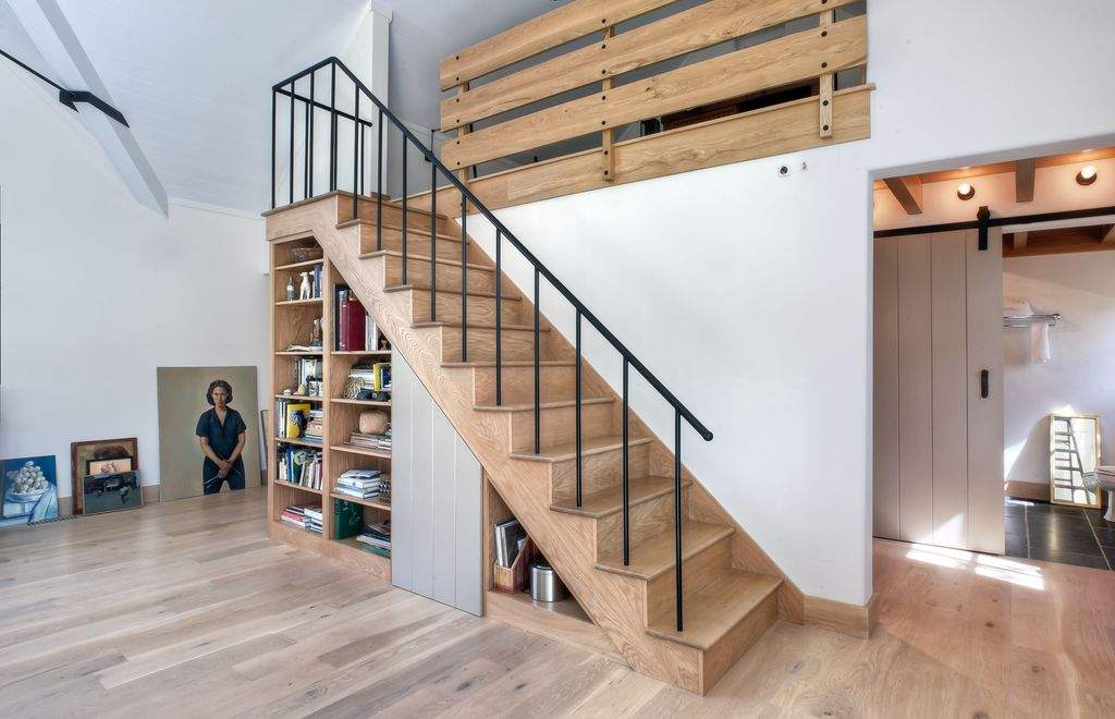 Rustic Staircase Hardwood Floors Loft Cathedral Ceiling Built