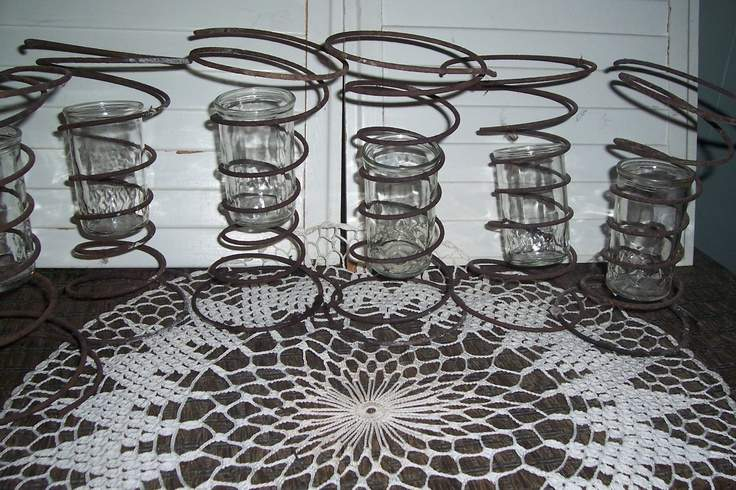 Rusty Repurposed Bed Springs Vases Candle Holders Country Out