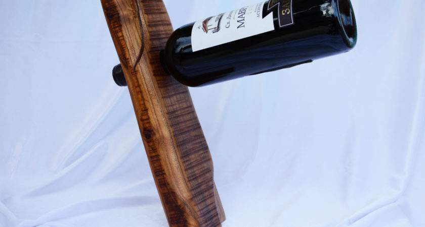 Stand Balancing Wine Rack Handcrafted Winery Wooden Bottle Holder