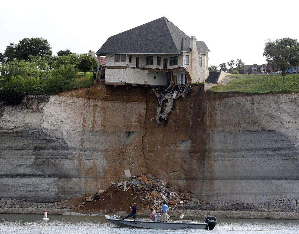 Texas Home Sliding Off Cliff Goes Down Flames Ajc
