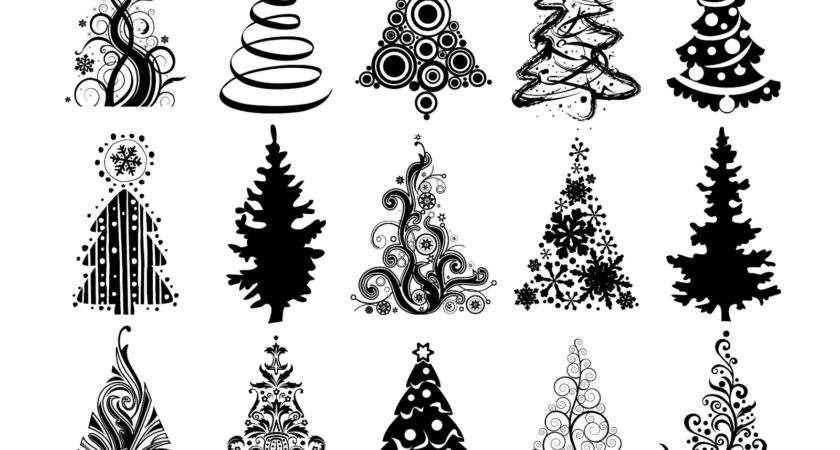 Vector Silhouettes Christmas Tree