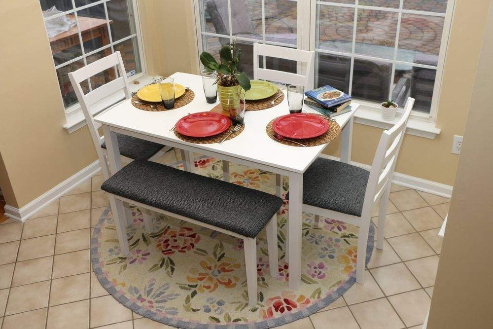 White Dining Table Set Dinette Chairs Bench Kitchen Nook Breakfast