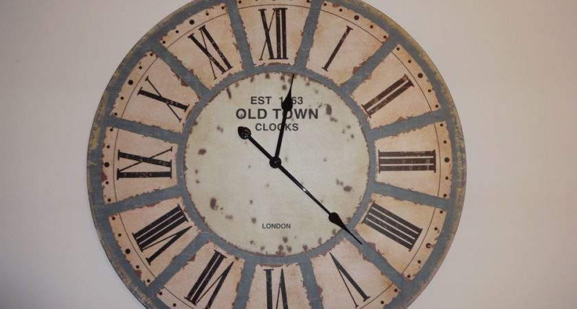 Wood Style Distressed Industrial Old Town Wall Clock Ebay